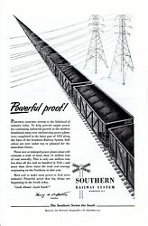 Vintage print ad Train 1950s Southern Railway System Powerful Proof power lines $9.95