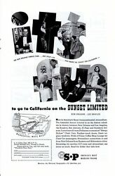 Vintage print ad Train Southern Pacific Railroad 1953 Sunset Limited It's Fun  $9.95