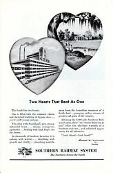 Vintage print ad Train 1948 Southern Railway Two Hearts that Beat as One art ad $9.95