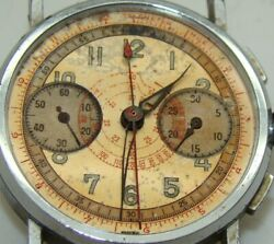 VINTAGE MONARCH WATCH CO. STAINLESS STEEL SWISS CHRONOGRAPH HEAD ONLY C.1950's