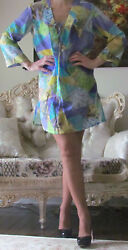 EMILIO PUCCI Multicoloured CaftanTunicDressCover Up It 44US 8-10M-LUK 12