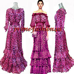 Dolce & Gabbana Pink Animal Print Off Shoulder Top Long Skirt Silk  Dress Suit