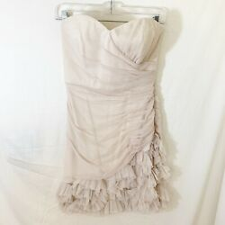 Max and Cleo Champagne Adrianna Cocktail Dress Strapless Ruffled with Style SZ 2