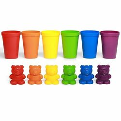 72 Rainbow Colored Counting Bears with Cup for Children Learning Education Toys $11.49
