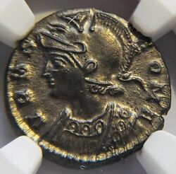 Silvering !!!!! Constantine the Great  She-Wolf Feeding Kids AD 330-340 NGC MS