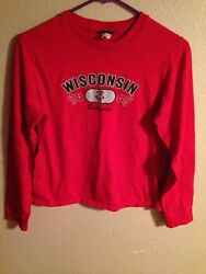 Champion For Her Women#x27;s Medium Wisconsin Badgers Long Sleeve Red Shirt $12.00