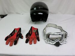 Sparx Open Face Motorcycle Helmet Size S w Fox Gloves Size L amp; Oakley Goggles $38.99