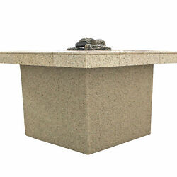 Cal Flame Stucco and Tile Rectangle Steel Propane Fire Pit Table FMN1152