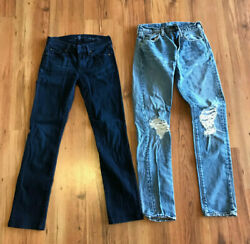 Womens Juniors 7 For All Mankind Levi Jeans Lot 2 Size 4 27 High Waist Straight $29.99
