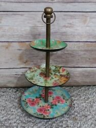 Metal Jewelry Organizer Tower Three Shelves Vintage Floral Rose Design French