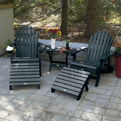 Longshore Tides Deerpark PlasticResin Folding Adirondack Chairs with Table