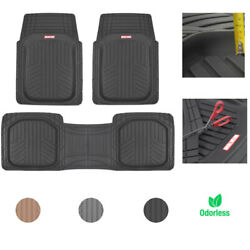 Car Rubber Floor Mats for All Weather Protection Semi Custom Fit 3 Pieces Set $33.90