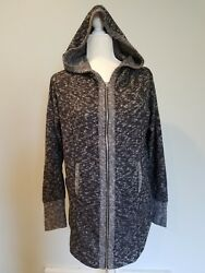 Out From Under Women Small Full Zip Tunic Hoodie Long Sweater Grey $19.99