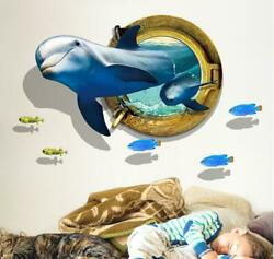 Wall decal Sticker Ceiling Floor Dolphin 3D living room bedroom Bathroom Toilet $6.95