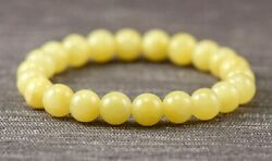Yellow Dyed Jade 6mm 8mm or 10mm Gemstone Beaded Stretch Bracelet Sizes 6