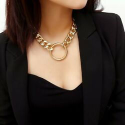 fashion punk style necklace trendy maxi link chain circle pendant necklace rock $6.89