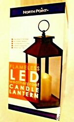 Flameless Candle Lantern LED Battery Operated Black Metal Yard Party Light 13quot; $17.99