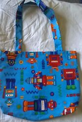 Fabric Tote Bag Handmade Robot Pattern NEW Child#x27;s School Books Toys Games Play $14.99