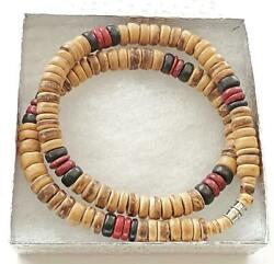 Black Brown 8mm Coco Wood Beads  Necklace Men's Teen's Surfer Choker Wooden 18