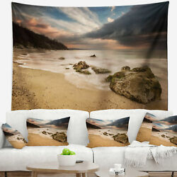 East Urban Home Beach Exotic Seashore with White Waves Tapestry