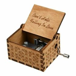 Retro Wooden Music Box Antique Hand Crank Engraved Toys Kids Interesting Gift US