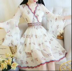 Women New Retro Palace Embroidered Lace Trumpet Sleeves Temperament V-neck Dress