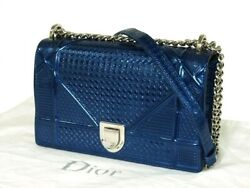 AUTHENTIC DIOR Chain Shoulder Bag Blue Metallic Leather Grade A USED - CJ