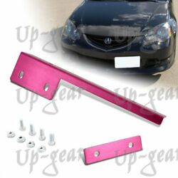 JDM Univewrsal Brush Bumper Front License Plate Mount Relocate Bracket Pink
