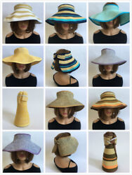 Women Crushable Foldable Wide Straw Roll Visor Beach Summer Brim Up Sun Cap $8.95