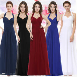 Ever-Pretty Long Halter V-Neck Wedding Dresses Sleeveless Evening Dresses 08487