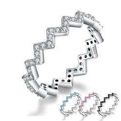 Brilliant Colorful Zigzag Collection S925 Silver Trendy Ring K01