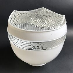 Vintage Ceiling White Clear Glass shade globe MCM Art Deco shade only $14.99