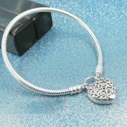 Authentic 100% 925 Sterling Silver Smooth Regal Heart Padlock Bracelet