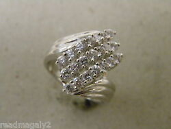 Lady's Women's Yellow Gold Rhodium Plated Cocktail Ring 21 Clear CZ's Size 8.25