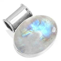 Natural Rainbow Moonstone Women Jewelry 925 Sterling Silver Pendant DB30151