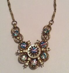 Gorgeous Vintage Signed CORO Gold Tone Necklace with Rhinestones 15.5
