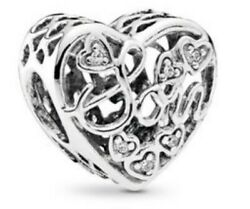 Authentic Sterling Silver Mother & Son Bond Bead Charm Clear CZ