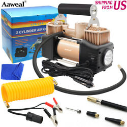 HEAVY DUTY Portable Air Compressor Car Tire Pump Inflator Auto Double cylinder  $42.59