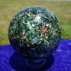 RARE Red Rubies in Green Kyanite in Fuchsite with EMERALD CRYSTAL Sphere Ball