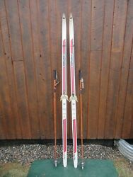 Ready to Use Cross Country 78quot; Long LAMPINEN 200 cm Skis Bamboo Poles $69.97