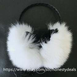 Double Side Fur Real Fox and inner rabbit Fur Earmuffs w Headset Earphone- White