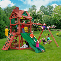 Gorilla Playsets Double Down Cedar Wood Swing Set Kids Backyard Playground