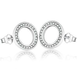 Sparkling CZ Circular Path 925 Sterling Silver Stud Earrings S02