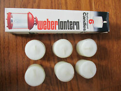 VINTAGE WEBER CANDLE LANTERN REPLACEMENT CANDLES 1984 SET OF 6 BURNS 7 HOURS NIB $24.00