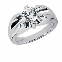 1.51 ct Round cut Diamond Solitaire Mens Ring 18k white gold G SI2