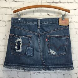 Levis Distressed Denim Skirt Button Fly Frayed Patched Destroyed Size 7 Waist 33