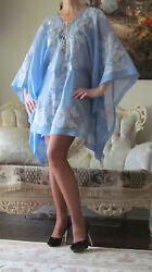 New EMILIO PUCCI Runway Sky Blue CaftanCover UpDress IT 44US 8-10M-LUK 12