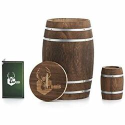 Decorative Jars Container Wooden Barrel W Lid For Home - Handmade Caddy Bar