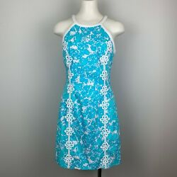 Lilly Pulitzer Pearl Shift Dress She's a Fox Blue Print Cotton Women's Size 4