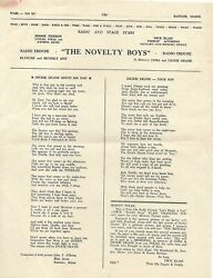 The Novelty Boys Vintage Radio Troupe INFO Jimmie Bev amp; Blanche Pierson MAINE $14.99